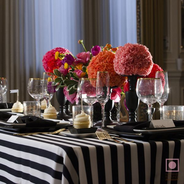 Attention 2 Detail: Black And White Striped Wedding Tablescape Part 37