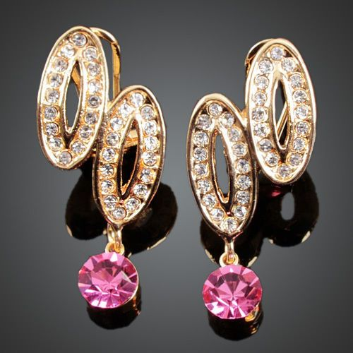 Gorgeous GoldPlated Ellipses White Pink Austrian Crystals Drop Stud Earrings New
