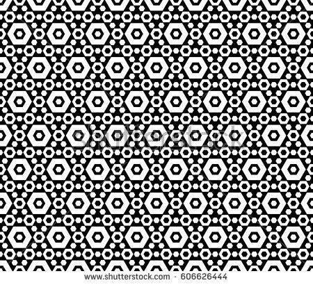 Vector monochrome texture, black & white hexagonal geometric seamless pattern. Contrast abstract background with different sized hexagons, symmetric structure. Design for decoration, textile, prints