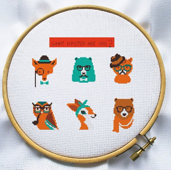 Counted cross stitch pattern, Instant Download, Free shipping, Cross-Stitch PDF, Cute Hipster