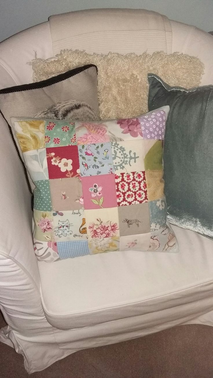 Hand sewn patchwork cushion made for my new summerhouse