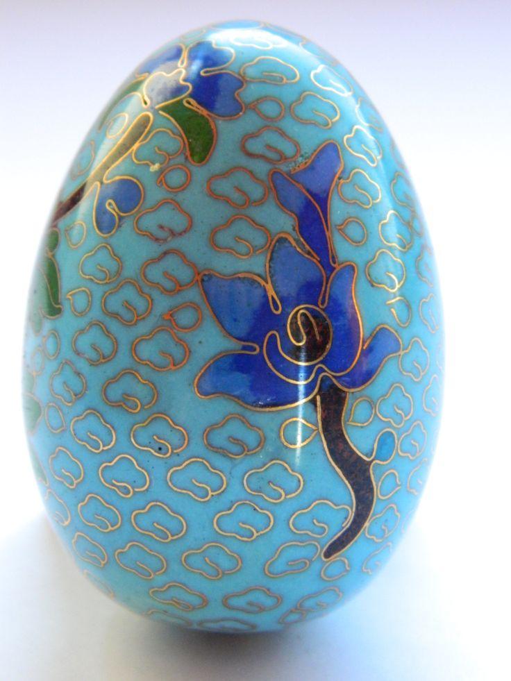 Decorative Ornaments For Living Room: Antique Decorative Cloisonne Enamel Egg , Vintage Asian