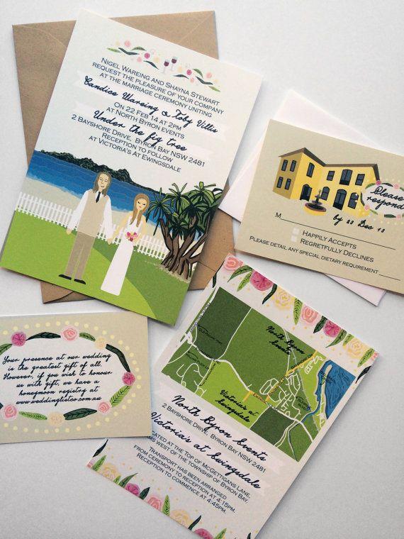 619 best wedding inspiration invites images on pinterest invite card rsvp mapreception card custom illustrated wedding invitations design fee stopboris Choice Image