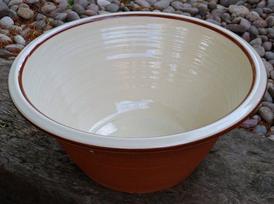 Once a common farmhouse tool used for bread making and to separate cream from milk, the pancheon has become somewhat rare in modern times. They seem to be making a small comeback, however, but so far only with a handful of potters in the UK.