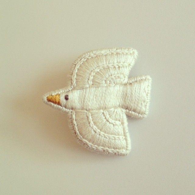 bird brooch + + embroidery