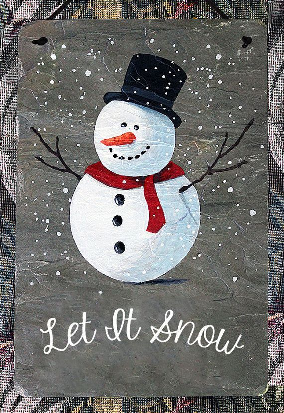 Hand painted slate sign with a happy snowman. Can be customized with your name and/or house number in place of Let It Snow. Please include note stating name and/or number/s. If you would like additional customization please contact me for a quote. Approximate size is 8W x 12H, although sizes may vary slightly. Slate is metamorphic rock and therefore each piece is unique in its appearance. Each is individual with marks and is foliated in different patterns. Comes with pre-at...