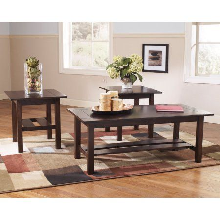 Flash Furniture Signature Design by Ashley Lewis 3 Piece Occasional Table Set Medium Brown