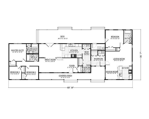 Plan 957 4 bedroom 3 5 bath 2300 sqft mother for Mother daughter house design