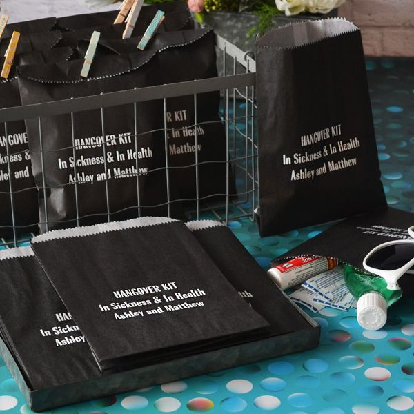Order flat, wax-lined hangover survival kit favor bags personalized with choice of wedding design and up to 4 lines of custom print to hold small comfort items for wedding or party guests.