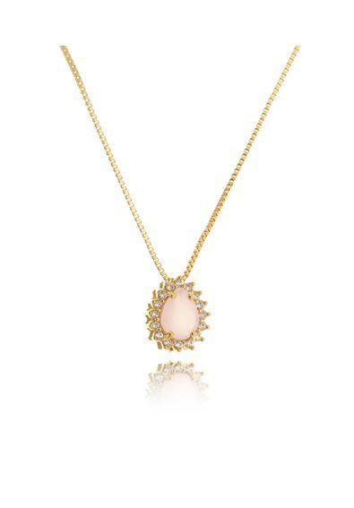 4579f72b425f7 Colar-de-gota-delicado-folheado-ouro-18k-zirconias-brancas-e-rosa-quartzo    Colares Dourados e Colares Folheados Ouro Semi Joias e Joias em 2018    Pinterest