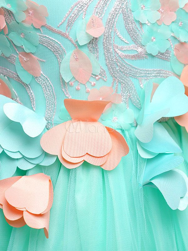 1f65bd52f539 Girls Pageant Dresses Mint Green Flower Girl Dress Sleeveless A Line Tea  Length Kids Formal Party Dress  Green