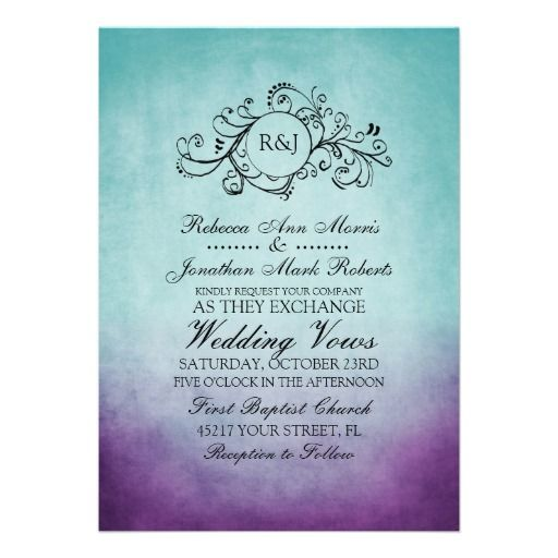 Rustic Teal Purple Bohemian Wedding Invitation. I would so have this for my wedding if its was a part of the color scheme