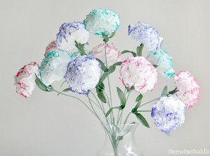 As a perfect Valentine's Day homemade craft for mom or grandma, make Tenderhearted Tissue Flowers, which look real and darling.