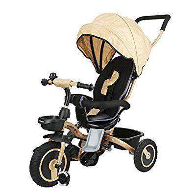 Fascol Klappbar Kinder Dreirad Baby Trike Fahrrad aus Metall Dreirad mit Sonnendach und abnehmbarer Schubstange Sicherheitsgurt flüsterleise Gummireifen, Kinderdreirad für ab 6 Monate bis 5 Jahren Kinder, gold