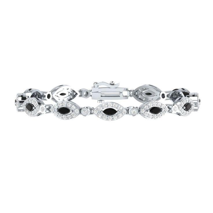 "4.10 Ct Black Spinel W/ White Sapphire Link Tennis Bracelet 7"" Sterling Silver #braceletrealgold #Tennis"