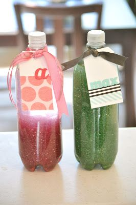 4. Pour fine glitter (preferably the same color as your glitter glue) into the bottle. I used almost a whole vial of my glitter, but how much you use is up to you. I would say 4-5 Tablespoons would be plenty. If it doesn't look like enough when you shake it up, add some more.