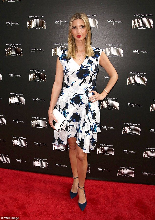 Strike a pose: Ivanka Trump looked pretty in a white printed dress as she attended the Broadway Opening Night of Cirque Du Soliel's Paramour in New York City on Wednesday