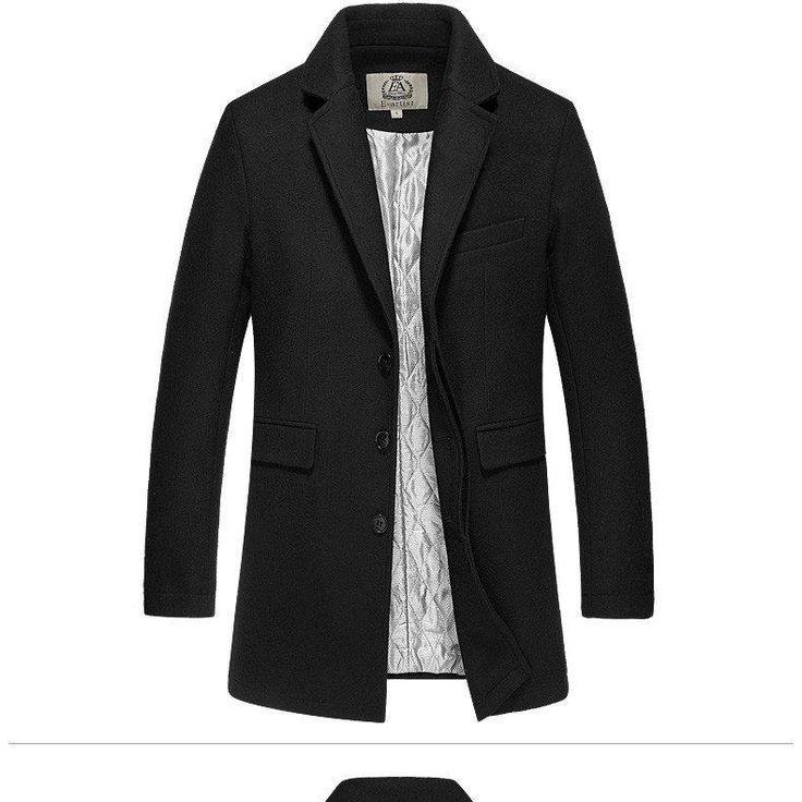 E-Artist Men's Slim Fit 3/4 Length Wool Blend Coat - Burgundy