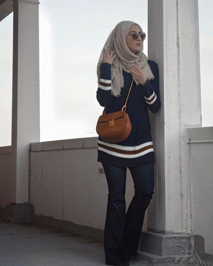 Stripes. | #hijabfashion #modestfashion #stripes #chloe #springstyle…