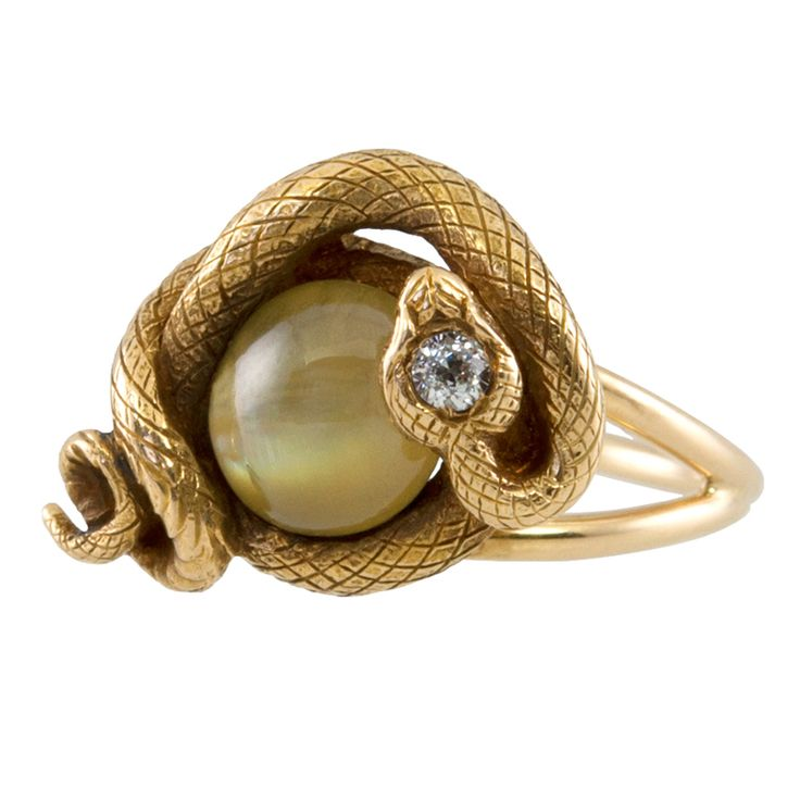 Cats Eye Chrysoberyl and Diamond Snake Ring