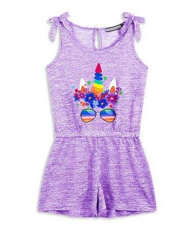 0516fe8b8a56 Purple Unicorn Bow-Sleeve Romper - Girls  zulily  zulilyfinds ...