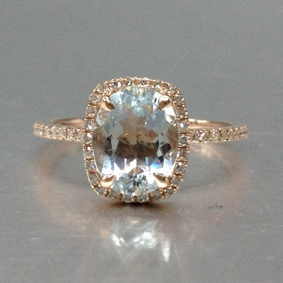 Blue Aquamarine Engagement ring rose gold, 14K&18K Rose/Yellow/White Gold Available. Every Jewelry in my store needs making to order. [Item details]