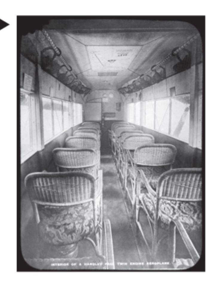 Interior of a twin engine plane in the old days. — from Lufthansa's in-flight magazine.