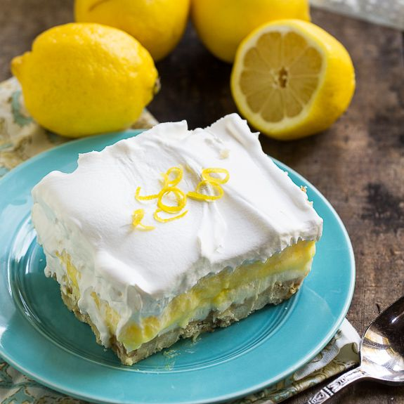 Lemon Lush - 4 delicious layers. This cool and creamy dessert is perfect for summer entertaining.