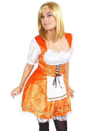 Oranje serveerster jurkje voor dames. Een sexy oranje jurk. Dit oranje jurkje is gemaakt van fluweelstof met kant en in meerdere maten beschikbaar. Het jurkje heeft een normale pasvorm.