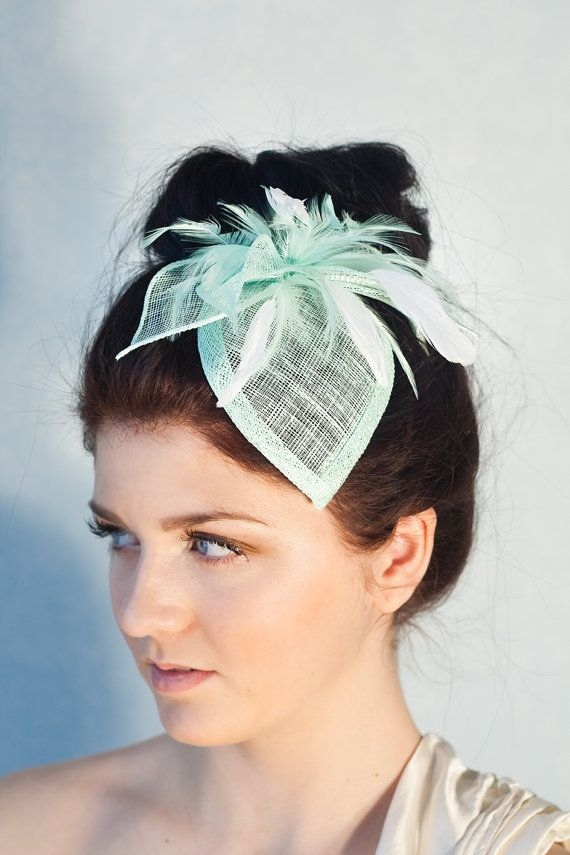 Mint Green Bridal Hat, Bridal Headpiece, Hat with Feathers, Millinery Hair Accessory, bridal fascinator