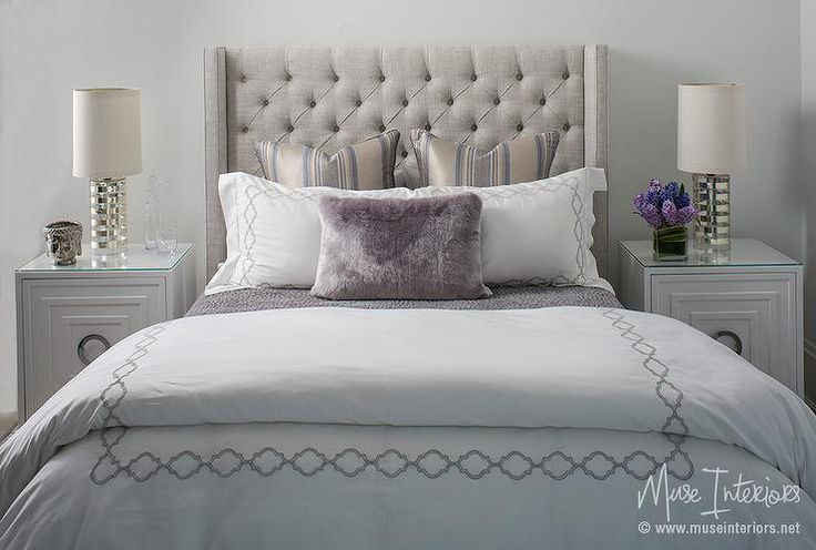 Heather Gray LInen Tufted Wingback Headboard with Worlds Away Cooper Nightstand