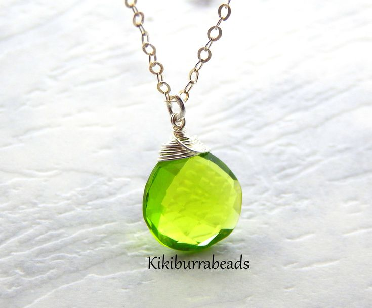 Peridot Necklace, August Birthstone Necklace, Sterling Silver Necklace, Solitaire Necklace, Layering Necklace, Gemstone Jewelry by Kikiburrabeads on Etsy