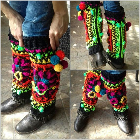 Crochet colorful leg warmers with pom-pom and flowersBohemian