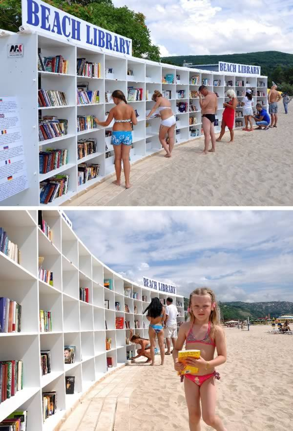Beach Library - I hope they have my novels available for discriminating readers.