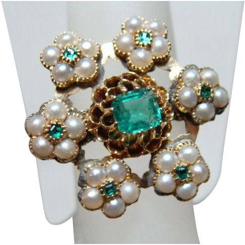 Beautiful Vintage Emerald, Seed Pearl and Gold Ring from White Peacock Jewels on Ruby Lane.
