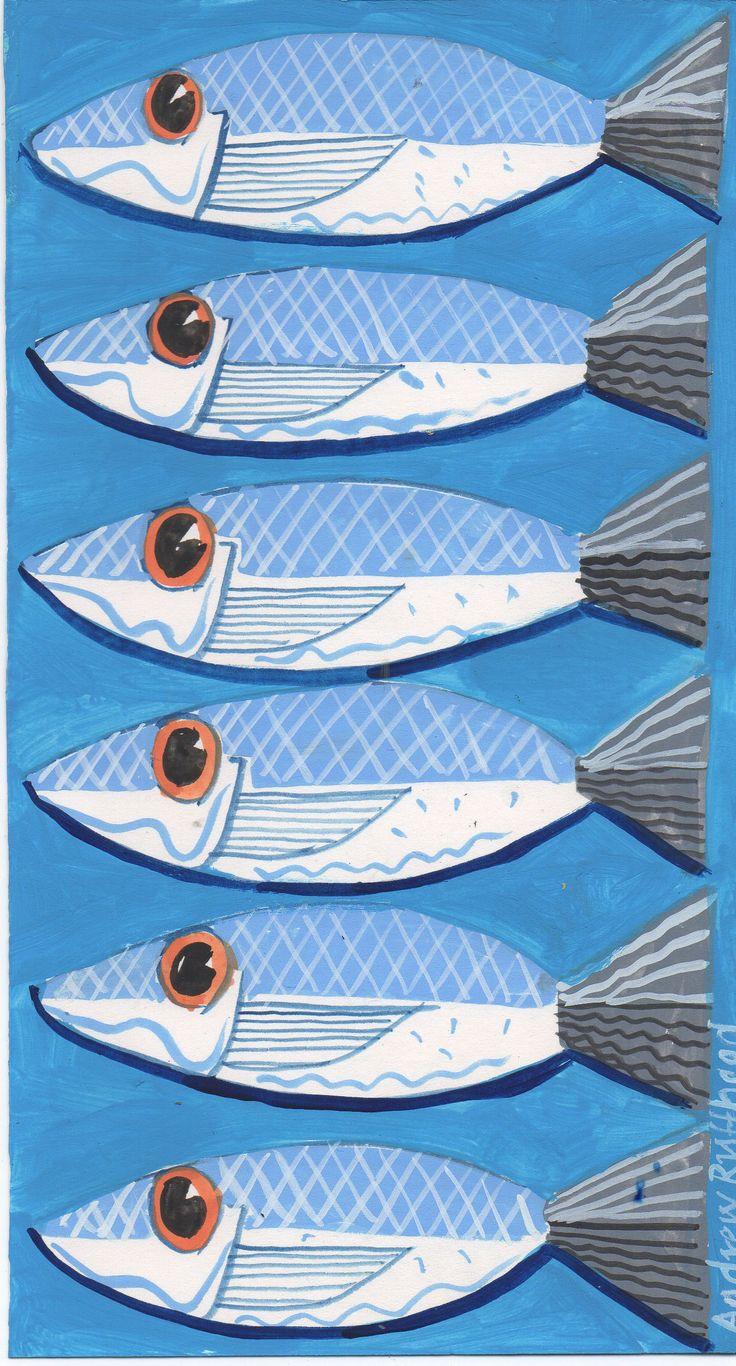 Felix murillo lleno de colores painting acrylic artwork fish art - Six Sardines Original Drawing 12cm X 21cm Www Fish And Ships Com