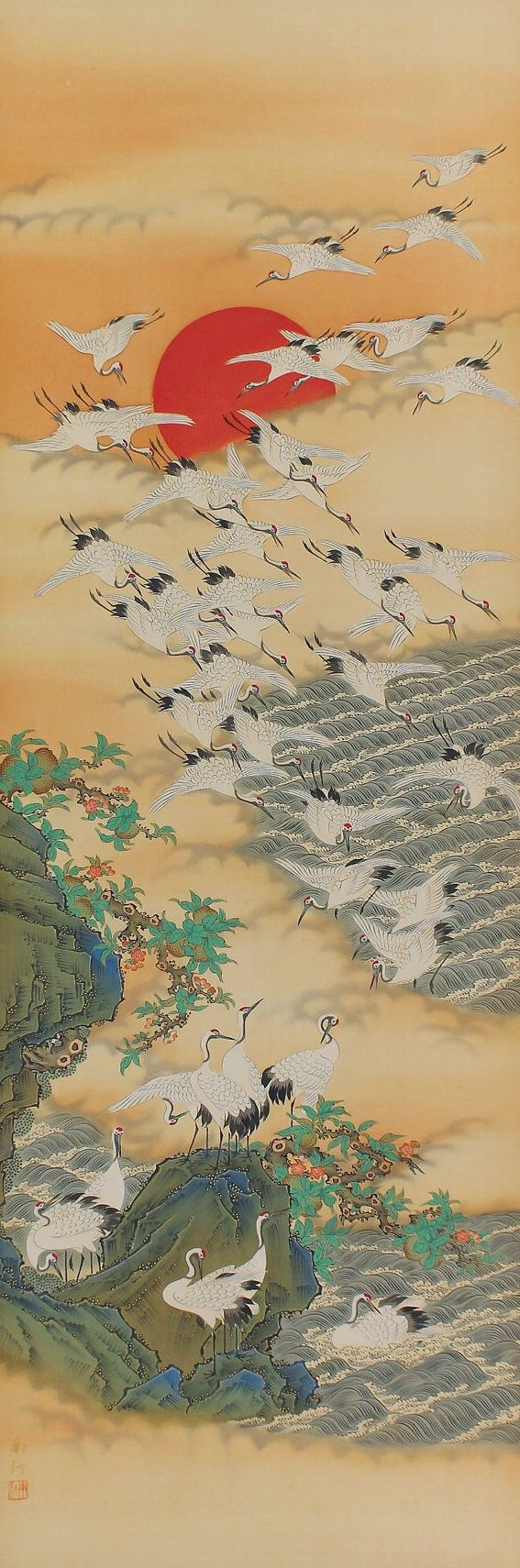 Japanese Fine Art Wall Hanging Scroll Painting Hundreds of Cranes and Sunrise Kakejiku –1505105