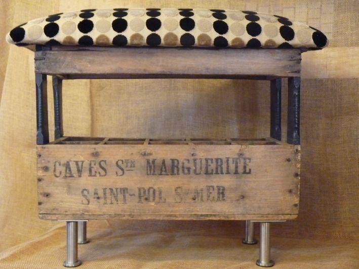 TABOURET RANGE BOUTEILLES ANCIEN, LE BANC'BAR