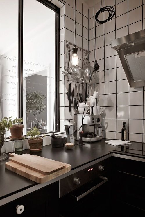 **Square tiles/blk grout all the way to the ceiling