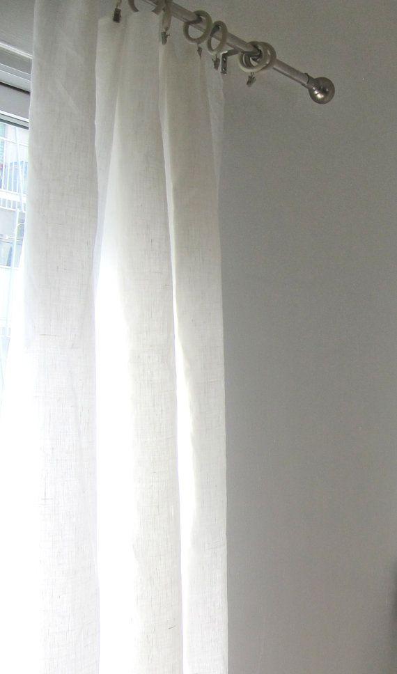 Natural Italian White Linen Drapery Panels Linen Curtain