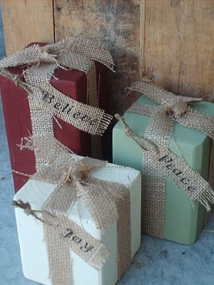 4 X 4 wood blocks tied with burlap make holiday gift decor -- or replace the burlap with Christmas ribbon, and it could be even more festive!! Maybe even wrap in extra scraps of wrapping paper... Just some thoughts :)