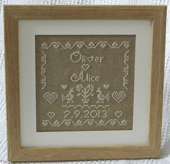 Personalised Wedding Sampler - Instant Download PDF Cross Stitch Pattern