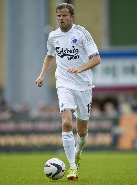 Mikael Antonsson of FC Copenhagen controls the ball during the Danish...
