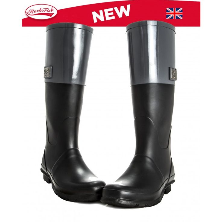 Rockfish Two Tone Zipper Black Earl Grey Wellies