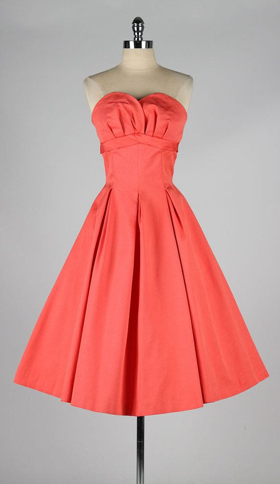 vintage 1950s dress . JONATHAN LOGAN . salmon by millstreetvintage