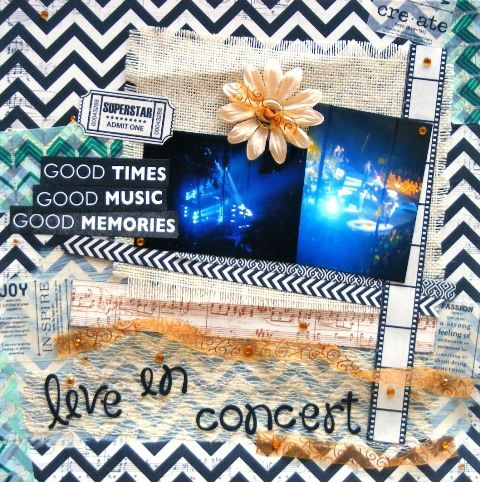 Music page created with KaiserCraft, On Stage collection by Barb for My Scrappin' Shop.