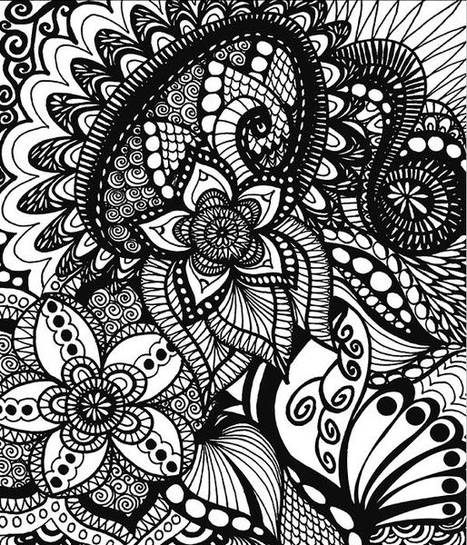 Coloring Books - Calming Doodles Illustrated By Virginia Falkinburg