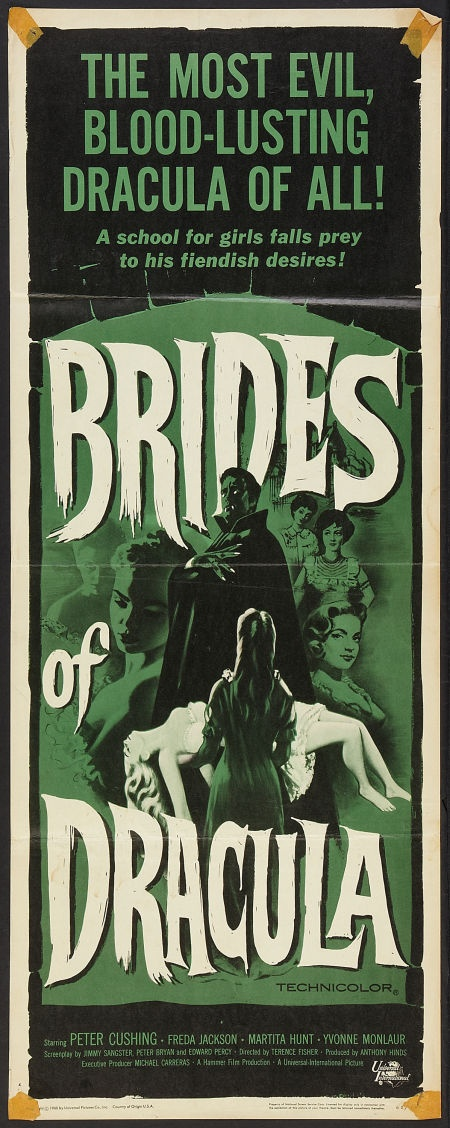 "Brides of Dracula (Universal International, 1960). Insert (14"" X 36""). Horror.  Starring Peter Cushing, Freda Jackson, Martita Hunt, Yvonne Monlaur, David Peel, Mona Washbourne, Andree Melly, and Stephanie Watts. Directed by Terence Fisher."
