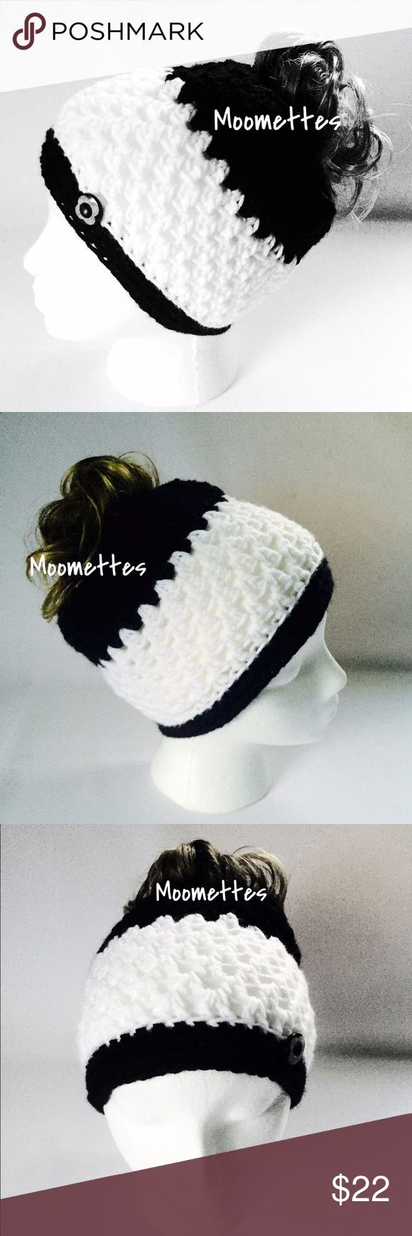 "Messy Bun Hat Black White Ponytail Beanie  Chunky Messy Bun Hat Black White Stripe Ponytail Beanie Handmade Crochet Wood Buttons Size 20"" Fits 22"" Circumference New Handmade in USA  Trades Handmade Accessories Hats"