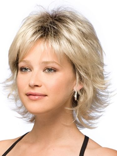 nice hairstyle for short hair with long layers.  This is my favorite hair.  I wore mine like this when I was personal training since it was so easy to wash and whip into shape quickly.  I have similar hair now but suddenly I want this again..so feminine without having to deal with a long do.